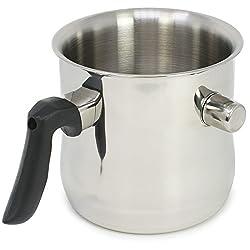 com-four® Milchtopf mit Schüttrand/Simmertopf 1,2 Liter, doppelwandig, spülmaschinengeeignet