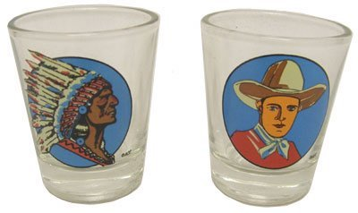 Hipster's Choice Western Shot Glasses, Cowboy and Indian by Accoutrements