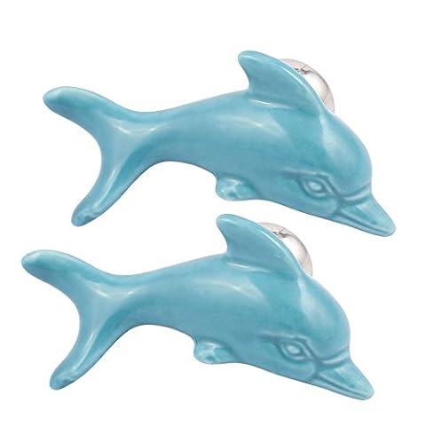 sourcingmap® Cabinet Wardrobe Drawer Door Pull Dolphin Shape Design Ceramic