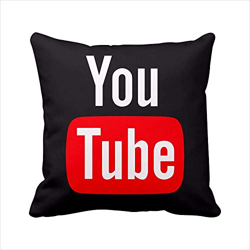 shengpeng 2 Sides Youtube Pillow Cover, Youtube Pillow Case, Social Media Logo Youtube Throw Pillow Cover Pillowcase Square Zippered Pillowcase - Black -