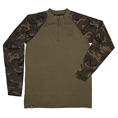 Fox Chunk Longsleeve Zip Top Khaki/Camo, Angelbekleidung, Bekleidung zum Angeln, Angelshirt, Langarmshirt, Größe:L