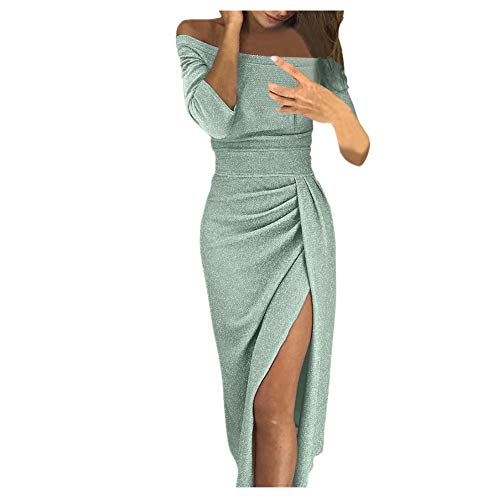 iHENGH Damen Frühling Sommer Rock Bequem Lässig Mode Kleider Frauen Röcke V-Ausschnitt Plaid, figurbetontes Kleid Langarm Minikleider(Grün, XL) -