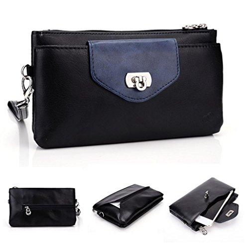 Kroo Portefeuille pour femme en cuir à rabat avec étui pour Samsung Galaxy Mega 2 rose Magenta and Blue Black and Blue