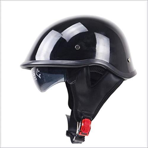 Motorrad Jet Helm, Brain Cap Bobber Halbschalen, Chopper Motorrad Helm, Retro Roller Helm für Roller oder Moped (Size : M) (Country Outfits Für Männer)