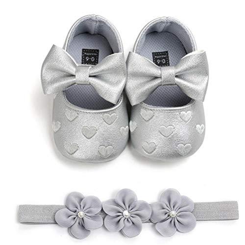 2 Pcs Kleinkind Party Schuhe Mit Stirnband, A - Silber, Gr.- 12-15 Monate/Herstellergröße- 5 ()