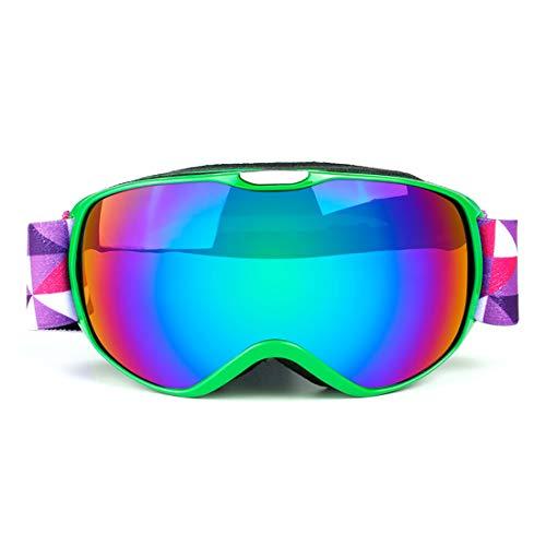 LBWNB Kids Ski Goggles-G3 Skibrillen for Snowboard Jet Snow-for Boys Girls Childrens Junior Childs Teen OTG Over Glasses Mirror Frameless Sonnenbrille,Green