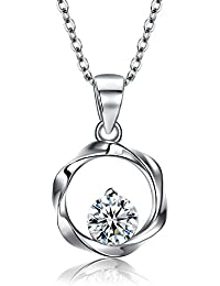 Kaletine Classical Cross Pendant Necklace For Ladies Sterling Silver 925 Cubic Zirconia Choker 16in+2in Extender Cable Chain ExXfAwk