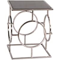 Casa Padrino Luxus Wohnzimmer Beistelltisch Silber/Schwarz 40 X 40 X H. 50  Cm