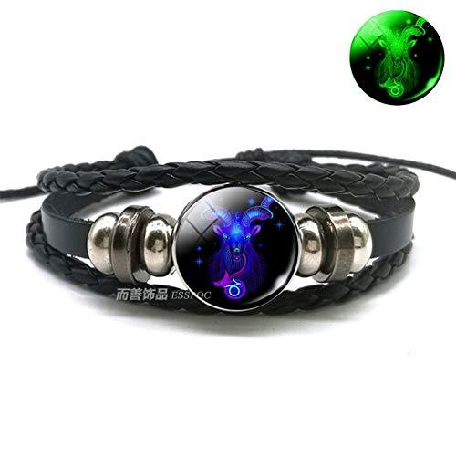 WODESHENGRI Armbänder,Waage Skorpion Sternbild Leuchtende Armband Leder Armband Sternzeichen Schmuck Armband Für Männer Frauen