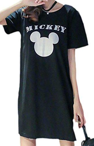 erdbeerloft - Damen Kurzes Casual Shirtkleid mit Cartoon Print, 36, (Kleid Mickey)
