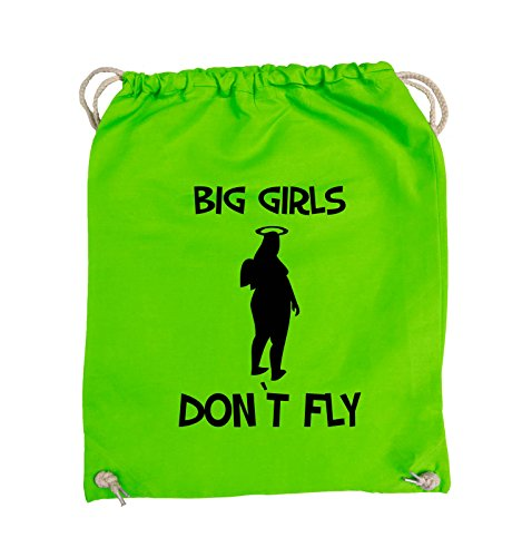 Comedy Bags - BIG GIRLS DON'T FLY - Turnbeutel - 37x46cm - Farbe: Schwarz / Pink Hellgrün / Schwarz
