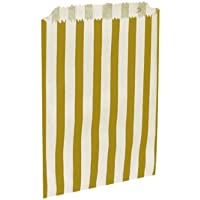 25 x Gold Candy Stripe / Striped Paper Party Bags - 5 x 7 by Swoosh Supplies