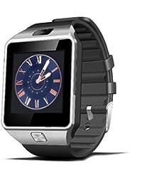 Xinan Reloj Inteligente de Pulsera Muñeca Impermeable de DZ09 Deportivo Bluetooth 3.0 Multifunciones Correa reemplazable con Micrófono de Pantalla 1.56 pulgadas para iOS y Android (❤️Plateado)