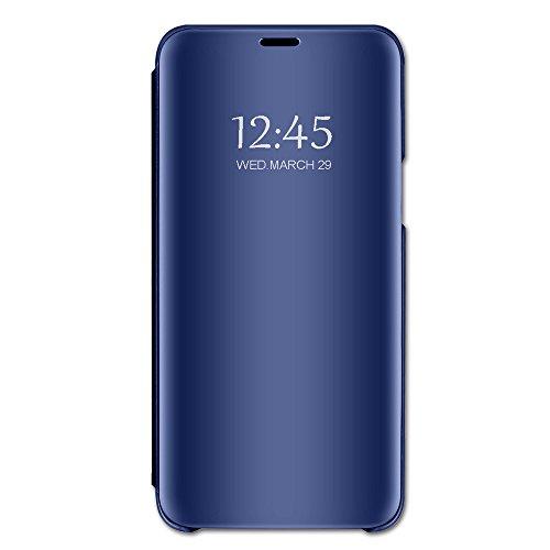 Hülle, iPhone 7 Hülle Mirror Case Spiegel Handyhülle PU Leder Flip Case Cover Schutz Echtleder Tasche Etui Lederhülle Schutzhülle Echtledertasche für 7/8 plus (Blau, iPhone 7 Plus) ()
