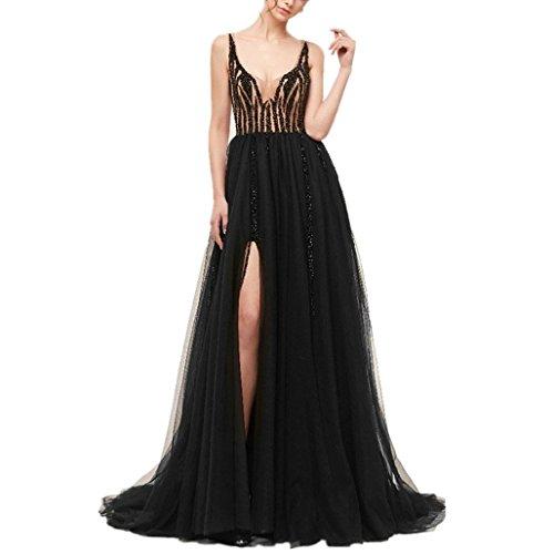 40a221f1b7d0e9 *Cloverbridal Damen Perlen Täuschung Ballkleid Lange mit Schlitz Ärmelloses  formelles Abendkleid Schwarz 34