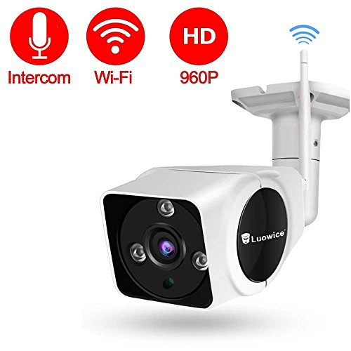 Luowice Wireless Security Camera Outdoor Wifi IP Camera with Intercom Function 50ft Night Vision and Built-in 16G SD Card IP66 Waterproof 960P