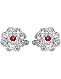 DollsofIndia White & Red Stone Studded Toe Ring (OX58) - White, Red