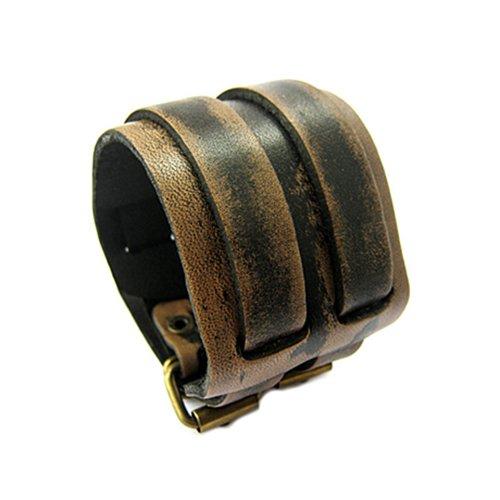 Broadfashion Bracelet en cuir Style punk Modèle large