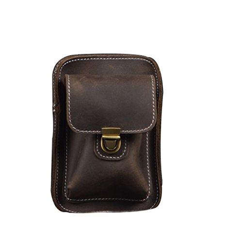 Zenness Klassiker echtes Leder Handy-Tasche Kleine Gürteltasche Tasche für Männer (Dunkel Kaffee) Grau Braun