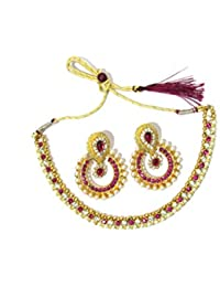 Shree Mauli Creation Pink Alloy White And Pink Pearl Polki Necklace Set For Women SMCN353