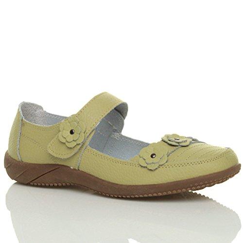 Femmes plat velcro babies fleur marche confort chaussures cuir pointure Pistache vert jaune