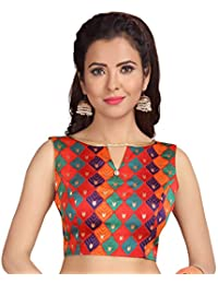 db2ddcc9210f90 STUDIO SHRINGAAR WOMEN S MULTI COLOURED BROCADE POLY SILK STITCHED  SLEEVELESS SAREE BLOUSE