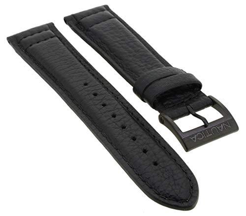 Nautica Ersatzband | Uhrenarmband aus Leder in schwarz mit schwarzer Schließe | NAI22506G