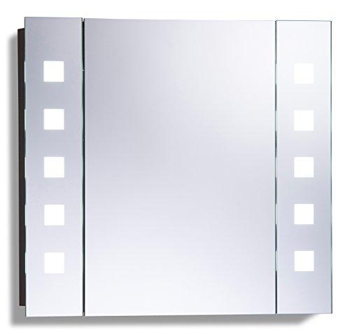 Armoire de toilette pour salle de bain avec miroir lumineux, antibuée, prise pour rasoir, détecteur de mouvement et éclairage LED 60cm(H) x 65cm(l) x 12cm(P) C20