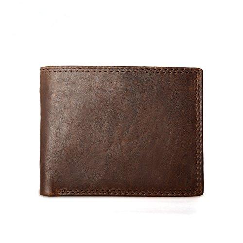 36865a5aafca2 Ruiatoo Herren Geldbörse Vintage Querform Leder portemonnaie Geldbeutel  Portmonee aus Echtleder Braun 12   9.5   1cm