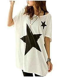 Tee Shirt Femme Été Casual Manches Courtes Chauve-souris Blouse Tops Motif Étoile Mode Tunique Femme Grande Taille - Landove