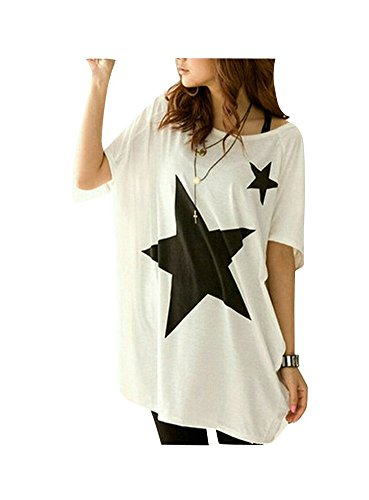 Blusa Verano Mujer 2017 Camisa Manga Murcielago Camiseta Estampada Estrella Cuello Redondo T-shirt Manga Corta - Lanodove (talla única, Blanco)