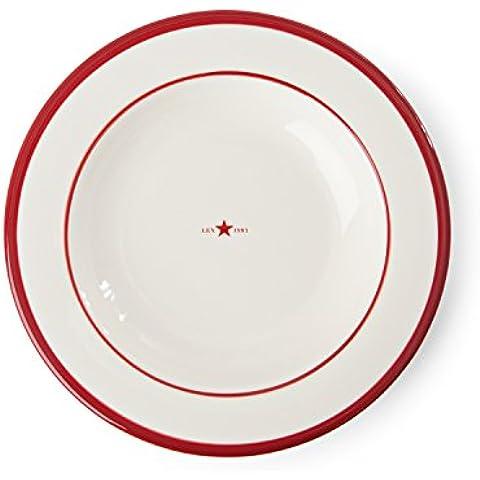 Lexington piatto fondo ceramica, colore rosso, confezione da 4