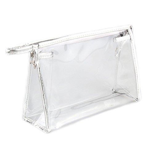 DELEY Voyage Transparent PVC Cosmétiques Maquillage Storage Bag Toilette Sac À Main Argenté QyUnVs