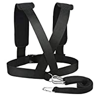 Perfeclan Sled Harness Vest with Pad Shoulders Pulling Strap Fitness Resistance Band Black for Women Men Running Strength Training