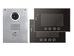 2 Draht Video Türsprechanlage Gegensprechanlage 7'' Monitor Klingel Farb Kamera (schwarz 2 Monitore)