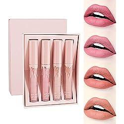 Beito 4 Couleurs Rouge à Lèvres Beauté Brillant Lip Gloss Mat Liquide Lipstick Matte Longue Tenue Gloss Rouge à Lèvres Beauty Lip Set de maquillage