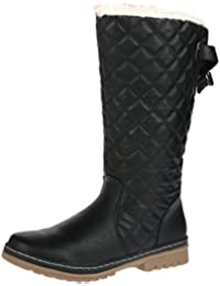 b565a5e2ca72 S2A New Womens Ladies Quilted Faux Fur Lined Thick Sole Mid Calf Boot Shoes
