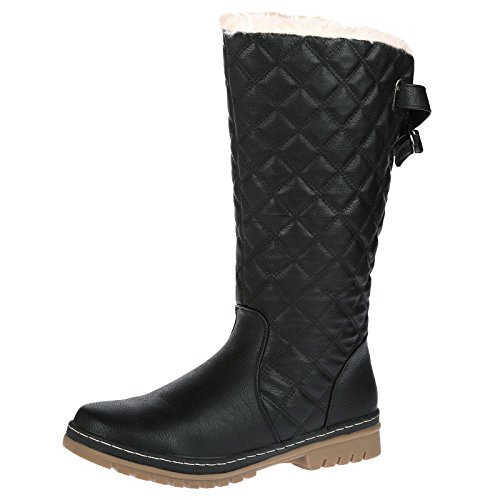s2a-new-womens-ladies-quilted-faux-fur-lined-thick-sole-mid-calf-boot-shoes-black-size-5-uk