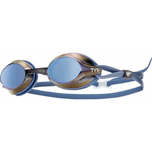 TYR Velocity - Gafas de natación con Espejo, Unisex Adulto, Color Silver/Blue/Blue, tamaño Medium
