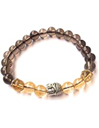 Crystal Cave Tibetan Buddha Positive Energy Healing Stone Bracelet 8 MM Smoky Quartz & Citrine