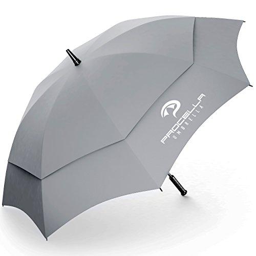 Procella Golf Regenschirm Herren und Frauen, 157cm Groß XXL Partnerschirm, Sturmfest & Windfest Stockschirm, Automatik Regen- und Windbeständig Golfschirme (Grau) (Weiß Golf Regenschirm, Schwarz Und)