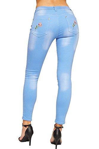 WEARALL Femmes Affligé Toile De Jean Jeans Dames Floral Rose Poche Maigre Jambe Sabrer Genou - 36-44 Bleu