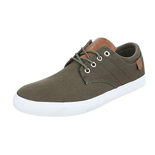 Ital-Design Turnschuhe Herrenschuhe Low-Top Schnürer Schnürsenkel Sneaker Khaki FC-B029