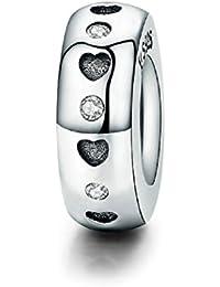 FeatherWish - Abalorio espaciador de corazones de plata de ley 925 con circonita cúbica para pulsera Pandora