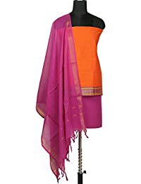 Gleamberry Womens Orange and Purple Mangalgiri Cotton Dress Material Set