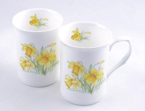 Pair Fine English Bone China Mugs - Daffodil Chintz - Staffordshire, England by ChinaFind Daffodil Bone China