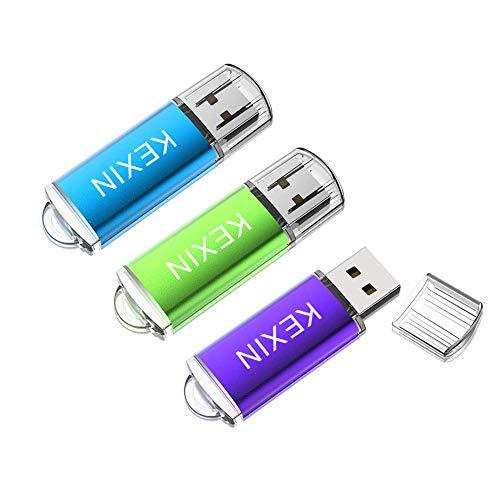 KEXIN USB-Stick 32GB 3 Stück Speicherstick USB 2.0 Cap Design USB-Flash-Laufwerk Mini Memory Sticks Pen Drive Thumb Drive für PC Computer Geschäft Student Geschenk (Grün Blau Lila)