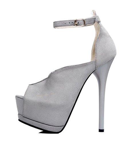 ZCH Nuova Donne ultra tacchi alti bocca pesci scamosciato scarpa cingolata fine con scarpe col tacco alto/Scarpe partito/scarpe da sposa Grey