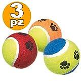 Trade Shop TraesioSET 3 Palline Pallina da Tennis Cane Gioco Lanciatore Palla Parco Gatto Cani