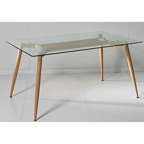 Mesa de comedor de cristal templado transparente con pata color madera
